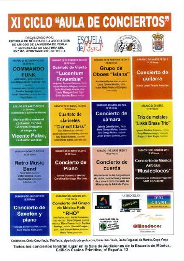 """Programación XI Ciclo """"Aula de Conciertos"""" 2013"""